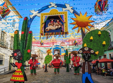 BRA3543AW Sao Joao Festival Decorations in Pelourinho, Old Town, Salvador, State of Bahia, Brazil
