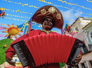 BRA3547AW Sao Joao Festival Decorations in Pelourinho, Old Town, Salvador, State of Bahia, Brazil