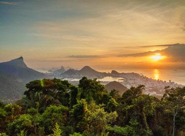 BRA3557AW Cityscape from Vista Chinesa at sunrise, Rio de Janeiro, Brazil