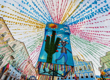 BRA3585AW Sao Joao Festival Decorations on Largo do Pelourinho, low angle view, Salvador, State of Bahia, Brazil