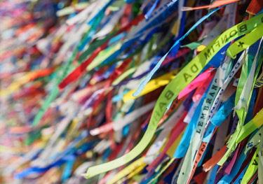 BRA3617AW Fitas (wish bracelets) n front of the Nosso Senhor do Bonfim Church, Salvador, State of Bahia, Brazil