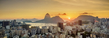 BRA3625AW View over Botafogo towards the Sugarloaf Mountain at sunrise, Rio de Janeiro, Brazil