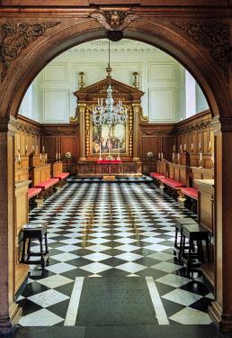 ENG15030AW Europe, United Kingdom, England, Cambridge, Cambridge University, Emmanuel College, interior of the Christopher Wren designed college chapel