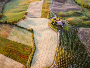 ITA11328AW Aerial view of farmhouse and fields, Tuscany, Italy