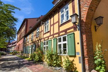 GER10596AW Half-timered house, Johannis cloister, Stralsund, Mecklenburg-Western Pomerania, Germany