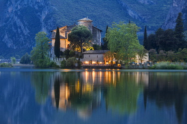 FVG025610 The Toblino Castle reflects on the waters of the homonymous lake at twilight, Valley of Lakes, Valle dei Laghi, Trentino, Italy