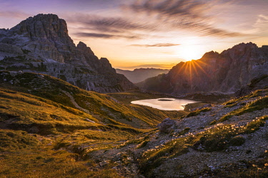 FVG027116 Sunrise on the Laghi dei Piani with mount Tre Scarperi on background near the Tre Cime di Lavaredo, Dolomites, South Tyrol, Italy