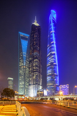 CH1413 Skyscrapers in Pudong, Shanghai.  From left to right: Shanghai World Financial Center, Jin Mao Tower, Shanghai Tower.