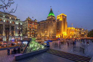 CH1419 The Fairmont Peace Hotel (1929) and the Bank of China (1942) are among the most prominent historic buildings at the Bund in Shanghai.