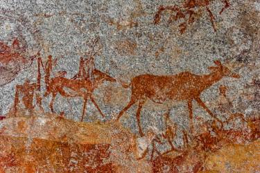 ZIM2585AW Africa, Zimbabwe, Bulawayo. Matobo Hills National Park, Nswatugi cave rock paintings