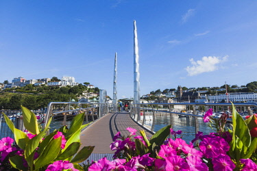 TPX61100 England, Devon, Torquay, Torquay Harbour Bridge and Town Skyline
