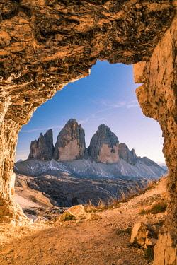 ITA113348AW Tre Cime di Lavaredo peaks or Drei Zinnen at sunset, Dobbiaco - Toblach, Trentino - Alto Adige or South Tyrol, Italy