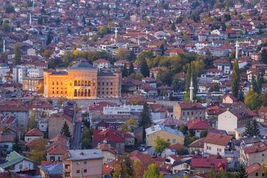 BH01101 Bosnia and Herzegovina, Sarajevo, View of City looking towards City Hall