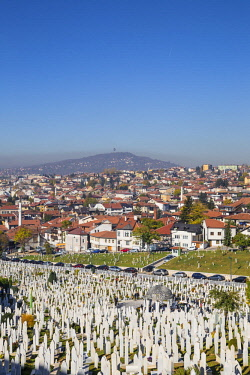BH01171 Bosnia and Herzegovina, Sarajevo, View over Kovaci War Memorial and Cemetery to the City