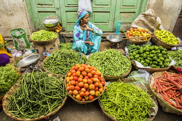 Vegetable market, Udaipur, Rajasthan, India