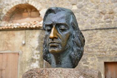 IBLFVP04144942 Bust of the Polish composer Frederic Chopin, Valldemossa, Majorca, Balearic Islands, Spain