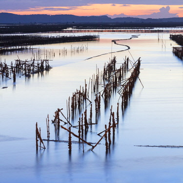 VIT1451AW Oyster beds at sunset, Halong Bay, Quang Ninh Province, North-East Vietnam, South-East Asia