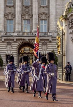 ENG15184AW Changing of the Guard at Buckingham Palace, London, England, United Kingdom