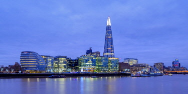 ENG15229AWRF Modern Architecture by the Queens Walk and The Shard at twilight, London, England, United Kingdom