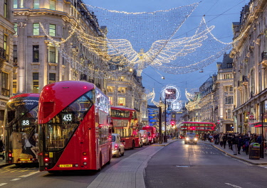ENG15224AW Regent Street with Christmas Illuminations at twilight, London, England, United Kingdom
