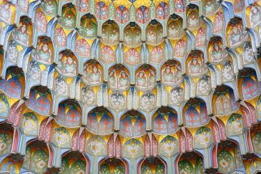 UZB0059AW Detail of the Abdul Aziz Khan Madrassah. Bukhara, a UNESCO World Heritage Site. Uzbekistan