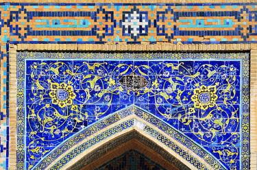 UZB0068AW Tilework. Registan square, a Unesco World Heritage Site, Samarkand. Uzbekistan