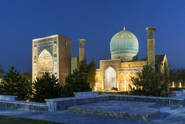 UZB0190AW Gur-e-Amir mausoleum of the Asian conqueror Timur (also known as Tamerlane, 1336-1405). It has a very important place in the history of Persian-Mongolian architecture. A Unesco World Heritage Site, Sa...