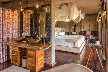 ZIM2666AW Africa, Zimbabwe, Hwange National Park.  Interior of  luxury safari tent at Somalisa Camp.