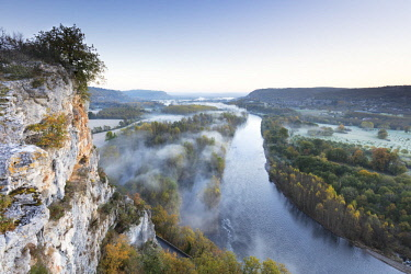 FRA10196AW Aerial view of the Dordogne Valley & Dordogne river on a misty morning in autumn,  Lot, Midi-Pyrenees, France