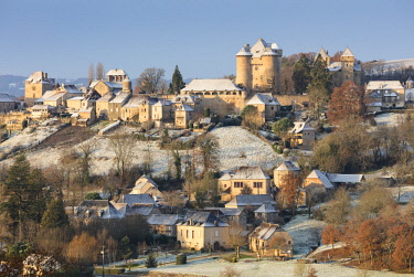 FRA10202AW Curemonte in the snow, Correze, Nouvelle-Aquitaine, France
