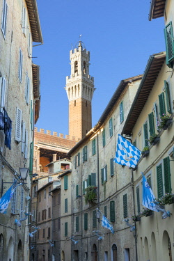 ITA11394AW Mangia's tower and street with Contrade flags of Onda, Siena, Tuscany, Italy