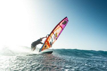 ARVISE002918 Professional windsurfer on sea, El Cabezo, Tenerife, Canary Islands, Spain