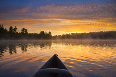 ARESJO001637 First person view of canoeist paddling through calm waters on Tooley Pond at sunrise, Tooley Pond, New York, USA