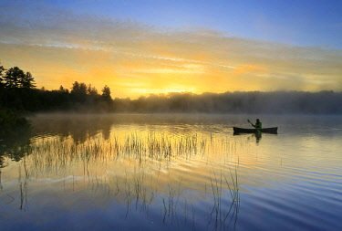 ARESJO001638 Lone canoeist paddling through calm waters on Tooley Pond at sunrise, Tooley Pond, New York, USA