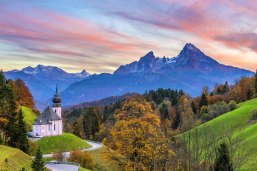 CLKAC74116 Maria Gern, Berchtesgaden, Bavaria, Germany, Europe. The church of Maria Gern at sunset