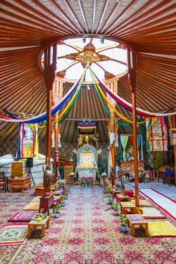 CLKFV74156 Interiors of a Tsorjiin Khureenii temple. Middle Gobi province, Mongolia.