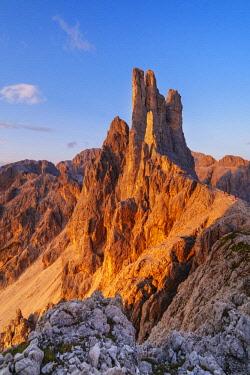 CLKGM71618 Torri del Vajolet peaks at sunset. Fassa valley, Dolomites, Trentino, Italy