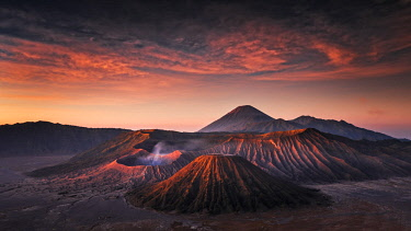 CLKMG71242 Sunrise in Bromo volcano with epic colors, Giava island