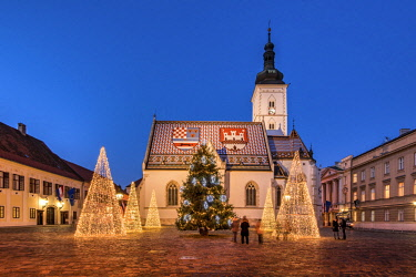 CRO1566AW St. Mark's Square adorned with Christmas trees, Zagreb, Croatia