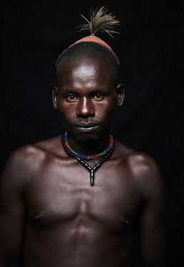 ETH3437AW Africa, Ethiopia, Omo Valley.  Portrait of a Hamar man