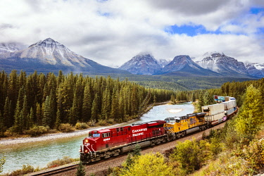 CAN3237AW Morant's curve with cargo train passing, Banff National Park, Alberta, Canada