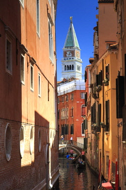 IT02821 Italy, Veneto, Venice, Sestiere of San Marco, Small canal and Gondolas