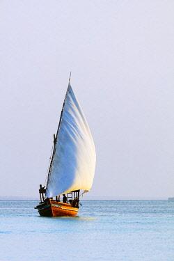 TZ3500 East Africa, Tanzania, Zanzibar island; Nungwi Beach, Dhow sail boat