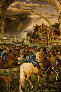 ITA11523 Siena, Tuscany, Italy. The interior of the Piccolomini Library within the Siena Duomo.