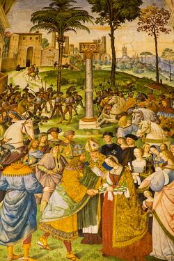ITA11525 Siena, Tuscany, Italy. The interior of the Piccolomini Library within the Siena Duomo.