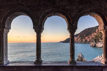 ITA11661AW Europe, Italy, Liguria, Portovenere, view through the arches of San Pietro