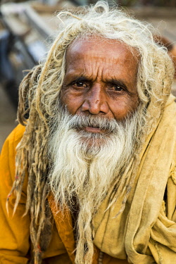 IND8466AW India, Rajasthan, Jaipur, Portrait of Hindu holy person or sadhu, at the Monkey Temple or Galtaji.