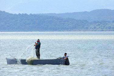 HMS2185569 Albania, Lagoon Nartes fisherman
