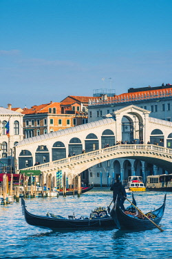 ITA11672AW Venice, Veneto, Italy. Gondolas on the Grand Canal.
