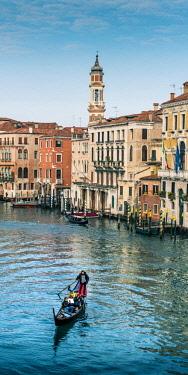 ITA11675AW Gondola in Grand Canal, Venice, Veneto, Italy. Vertical panorama.